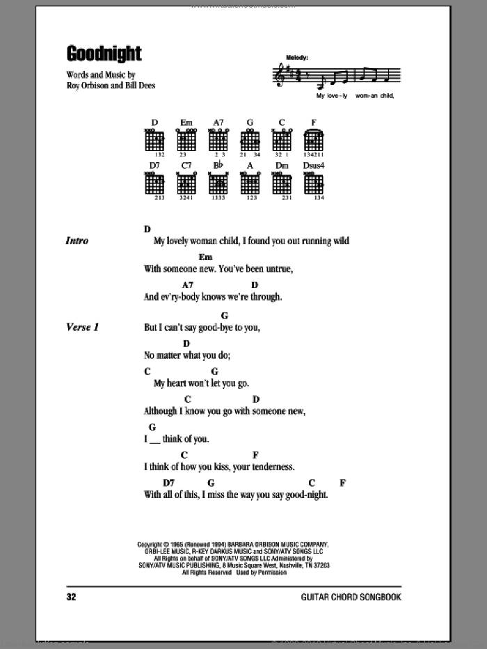 Goodnight sheet music for guitar (chords) by Roy Orbison and Bill Dees, intermediate skill level