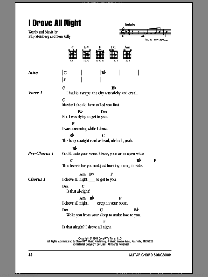 Orbison I Drove All Night Sheet Music For Guitar Chords Pdf