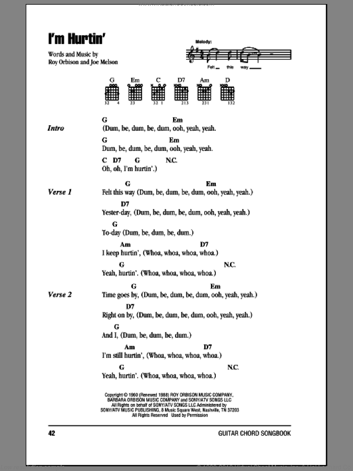 I'm Hurtin' sheet music for guitar (chords) by Joe Melson and Roy Orbison. Score Image Preview.