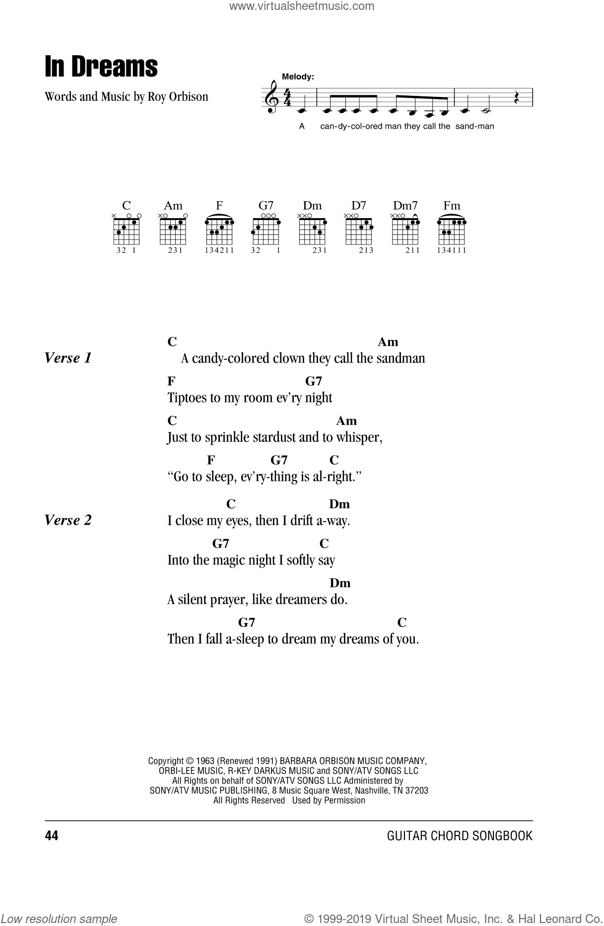 In Dreams sheet music for guitar (chords) by Roy Orbison. Score Image Preview.