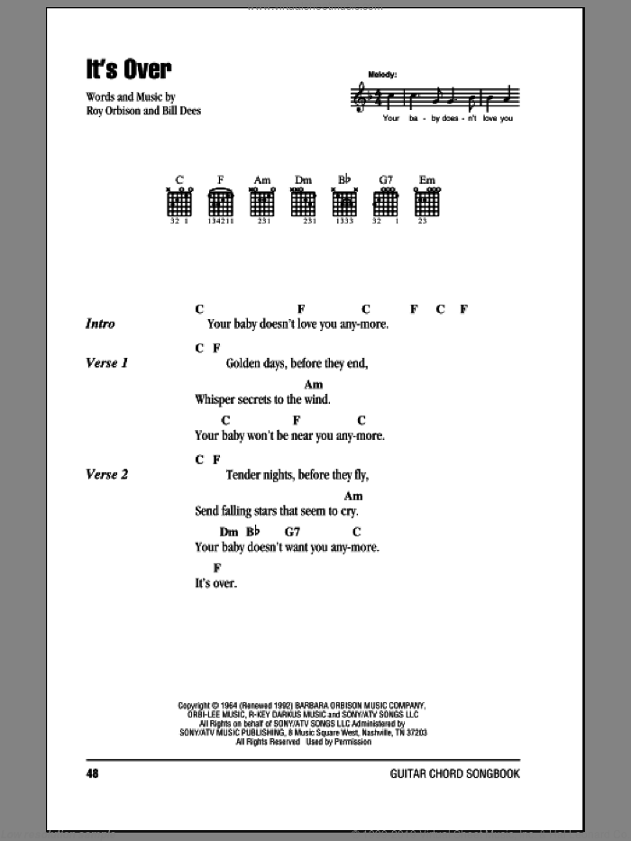 It's Over sheet music for guitar (chords) by Roy Orbison and Bill Dees, intermediate skill level