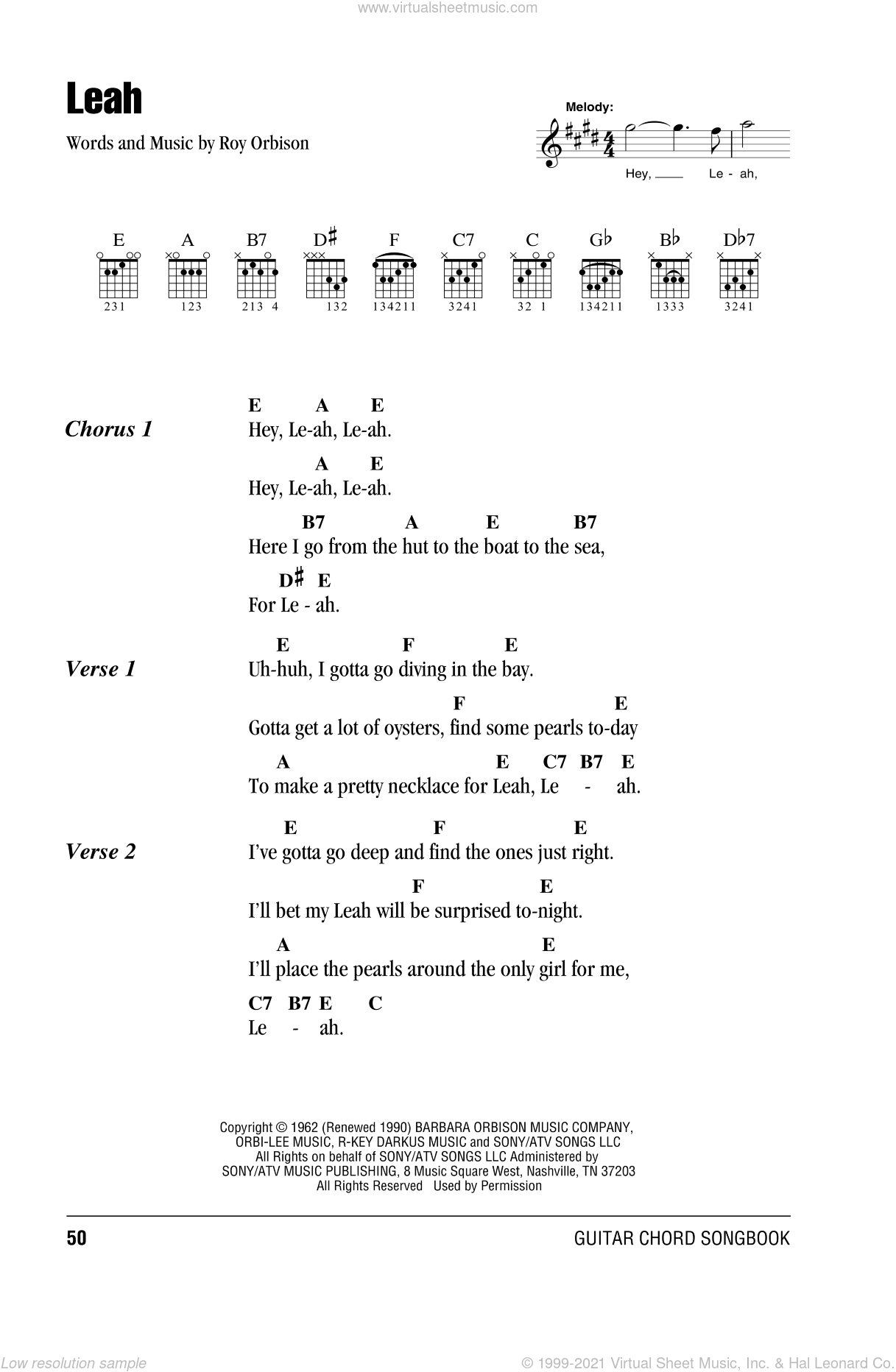 Orbison - Leah sheet music for guitar (chords) [PDF]