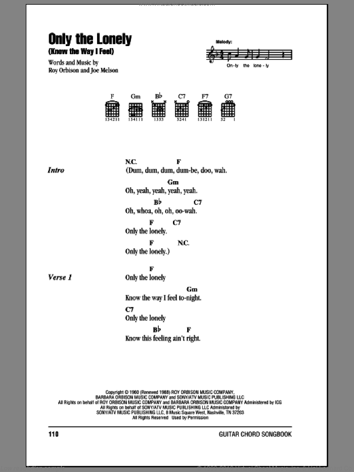 Only The Lonely (Know The Way I Feel) sheet music for guitar (chords, lyrics, melody) by Joe Melson