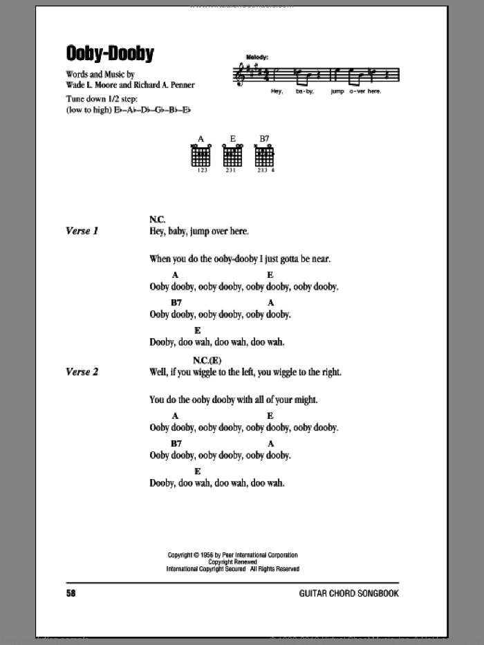 Ooby-Dooby sheet music for guitar (chords) by Roy Orbison, Richard A. Penner and Wade L. Moore, intermediate skill level