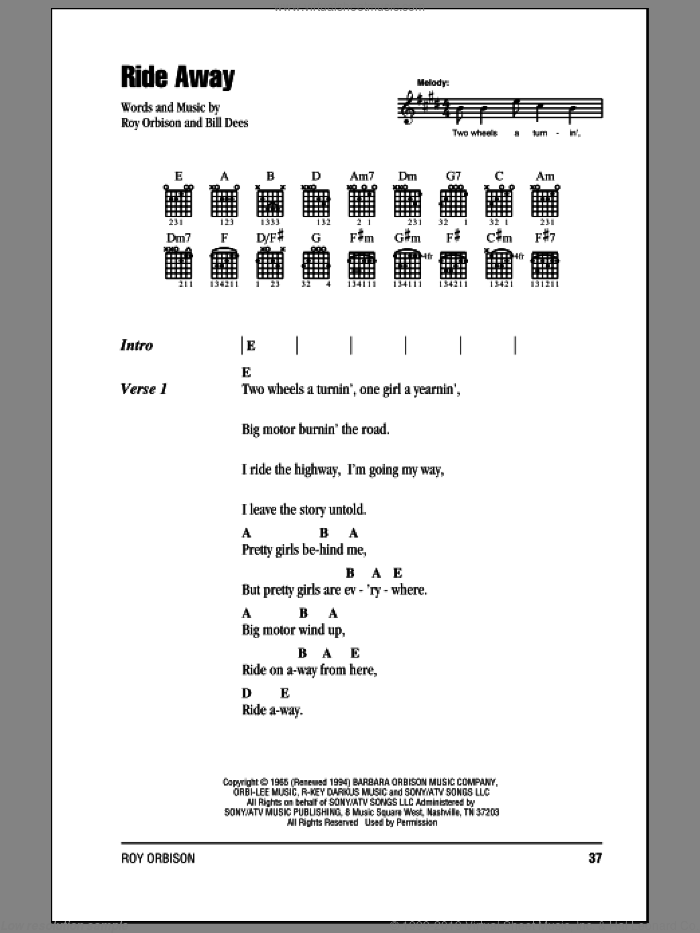 Ride Away sheet music for guitar (chords) by Roy Orbison and Bill Dees, intermediate skill level
