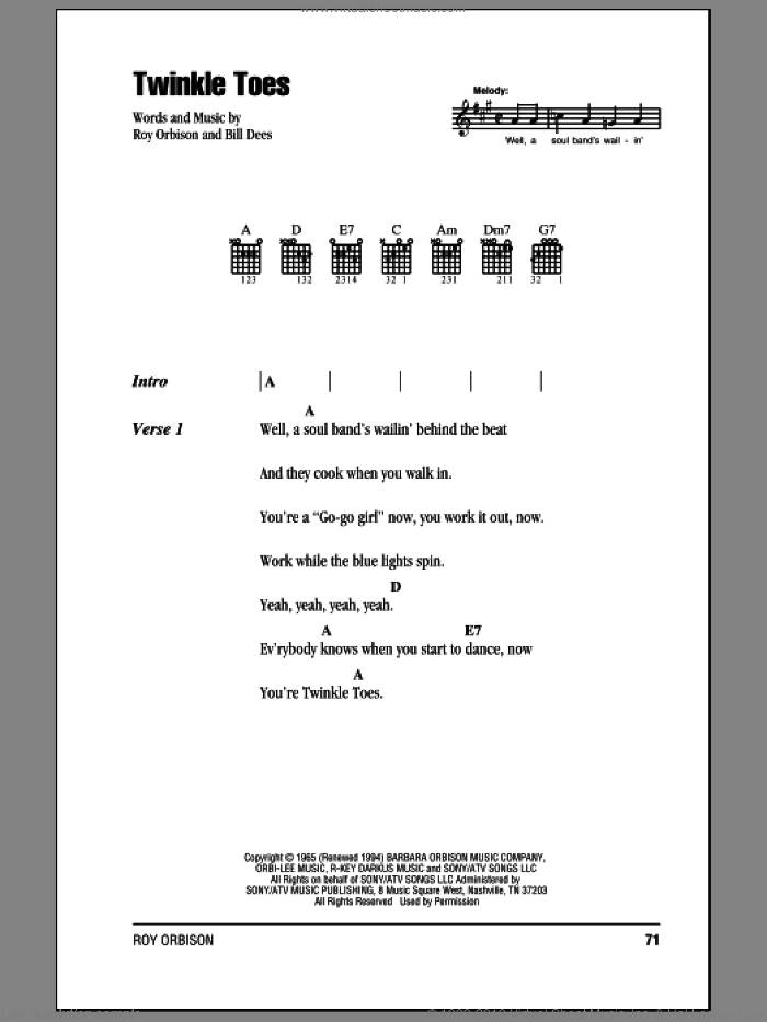 Twinkle Toes sheet music for guitar (chords) by Roy Orbison and Bill Dees, intermediate skill level