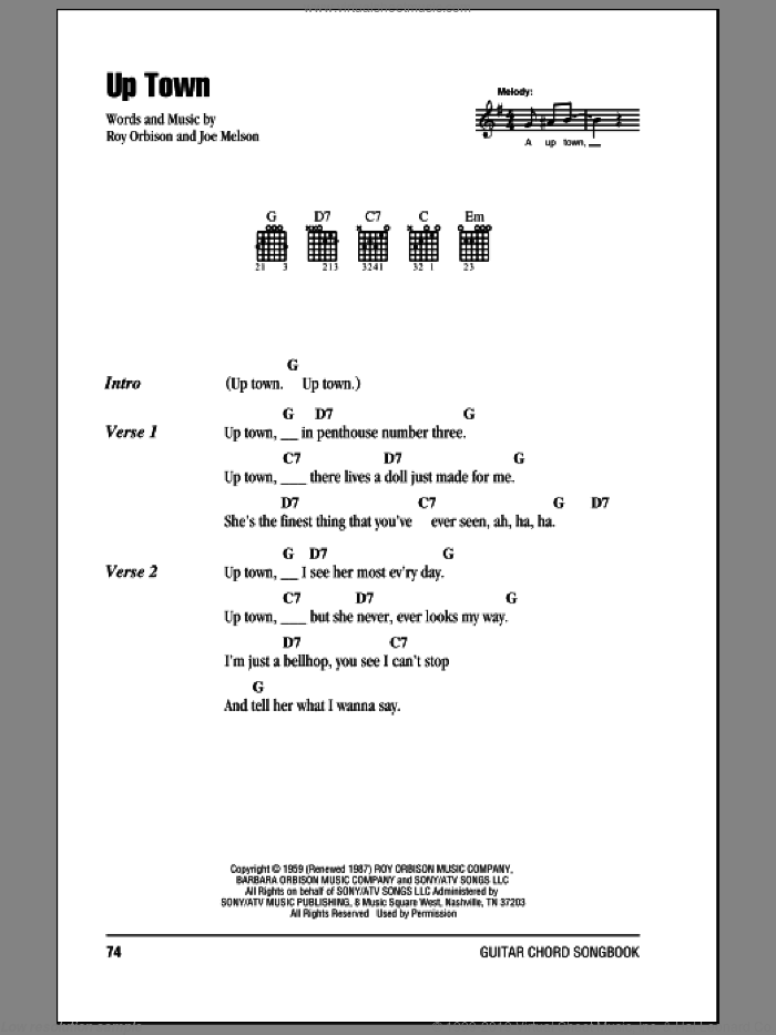 Up Town sheet music for guitar (chords) by Joe Melson and Roy Orbison. Score Image Preview.