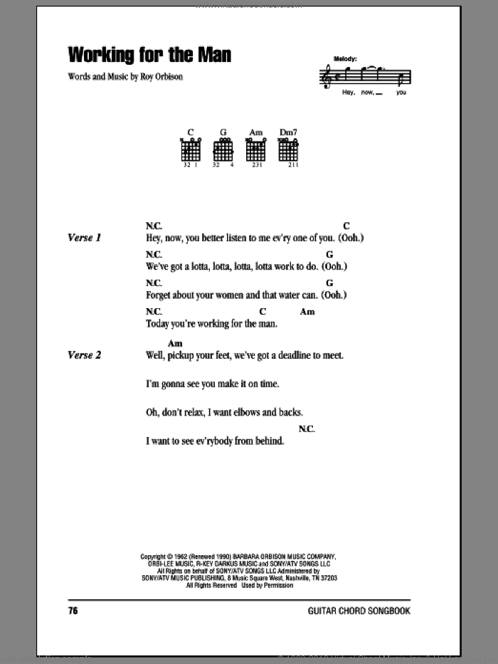 Working For The Man sheet music for guitar (chords) by Roy Orbison, intermediate. Score Image Preview.