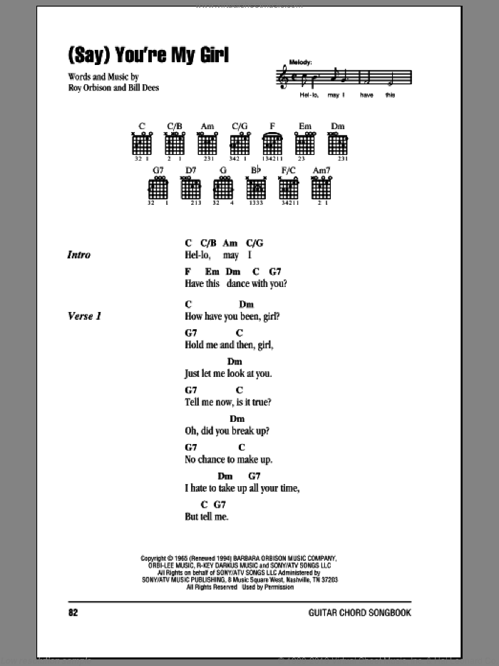 (Say) You're My Girl sheet music for guitar (chords) by Bill Dees and Roy Orbison. Score Image Preview.
