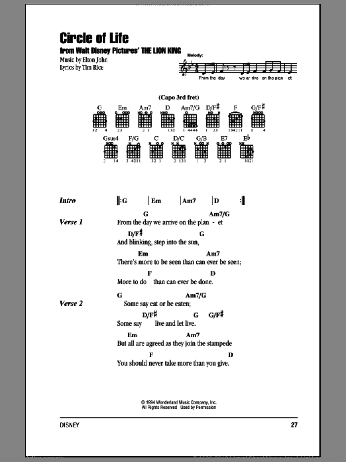 Circle Of Life sheet music for guitar (chords) by Elton John and Tim Rice, intermediate