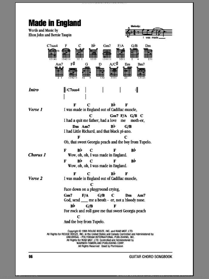 Made In England sheet music for guitar (chords) by Bernie Taupin and Elton John. Score Image Preview.