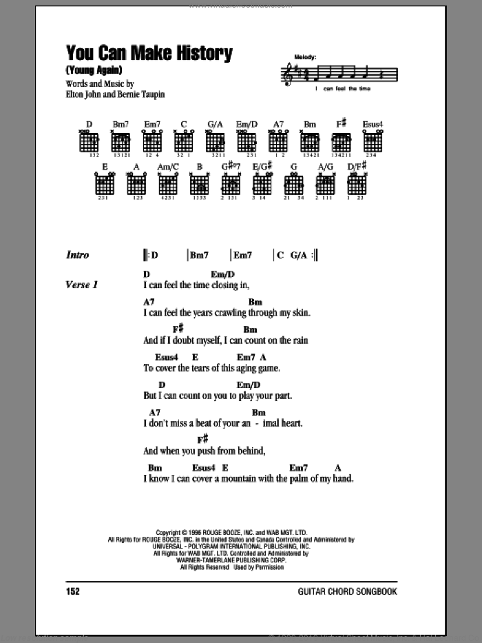 You Can Make History (Young Again) sheet music for guitar (chords) by Bernie Taupin and Elton John. Score Image Preview.