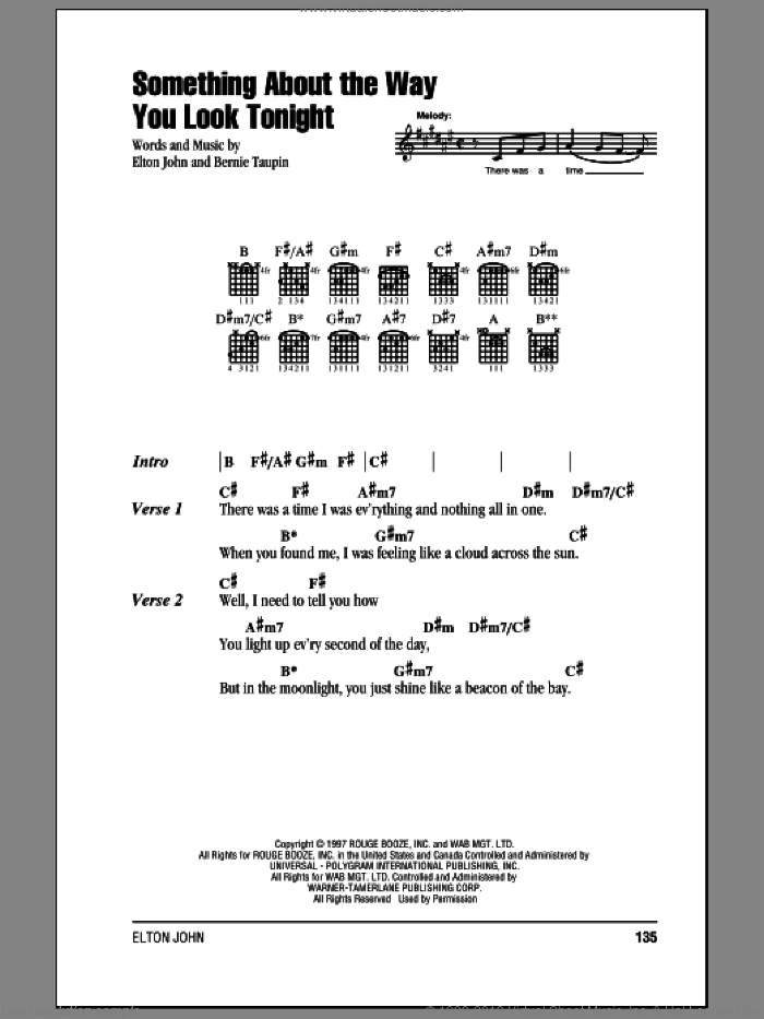 Something About The Way You Look Tonight sheet music for guitar (chords) by Bernie Taupin and Elton John. Score Image Preview.