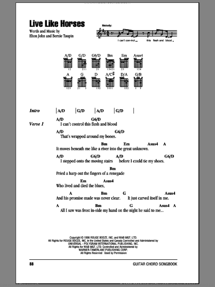Live Like Horses sheet music for guitar (chords) by Bernie Taupin and Elton John. Score Image Preview.