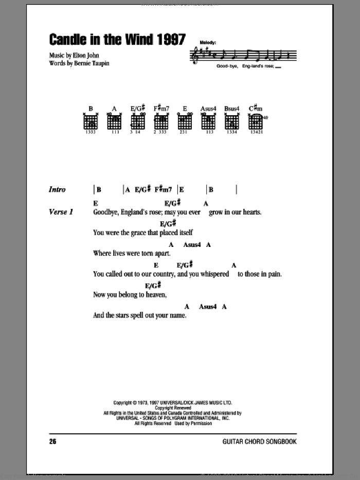 Candle In The Wind 1997 sheet music for guitar (chords) by Elton John and Bernie Taupin, intermediate. Score Image Preview.