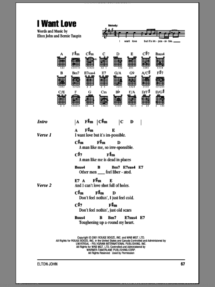 I Want Love sheet music for guitar (chords) by Elton John and Bernie Taupin, intermediate skill level
