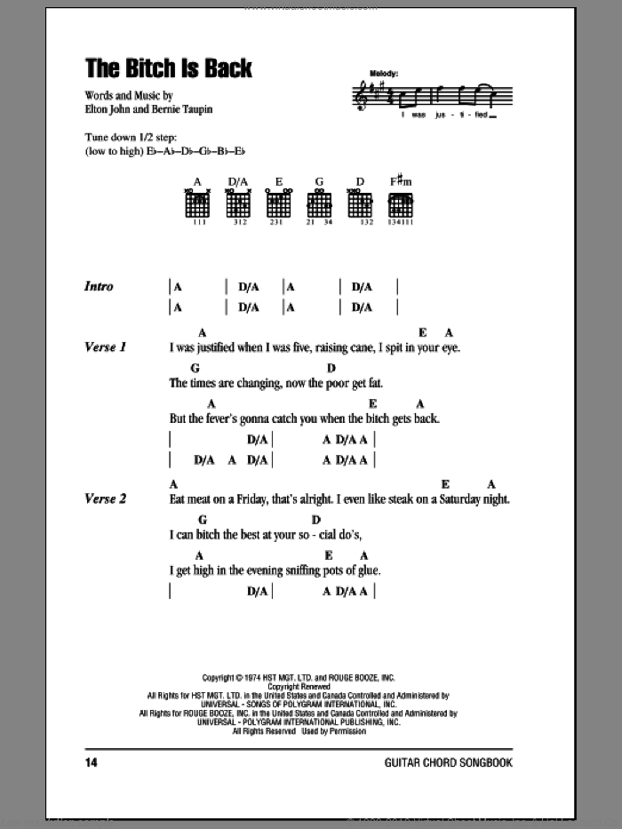John The Bitch Is Back Sheet Music For Guitar Chords Pdf