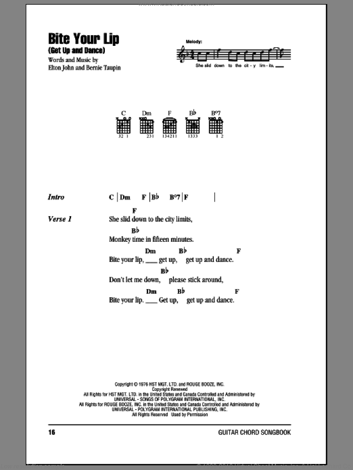 Bite Your Lip (Get Up And Dance) sheet music for guitar (chords) by Elton John and Bernie Taupin, intermediate