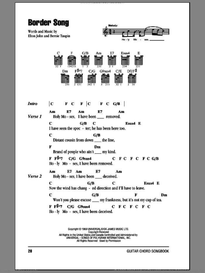 Border Song sheet music for guitar (chords) by Bernie Taupin