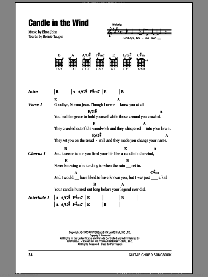 Candle In The Wind sheet music for guitar (chords) by Bernie Taupin and Elton John. Score Image Preview.
