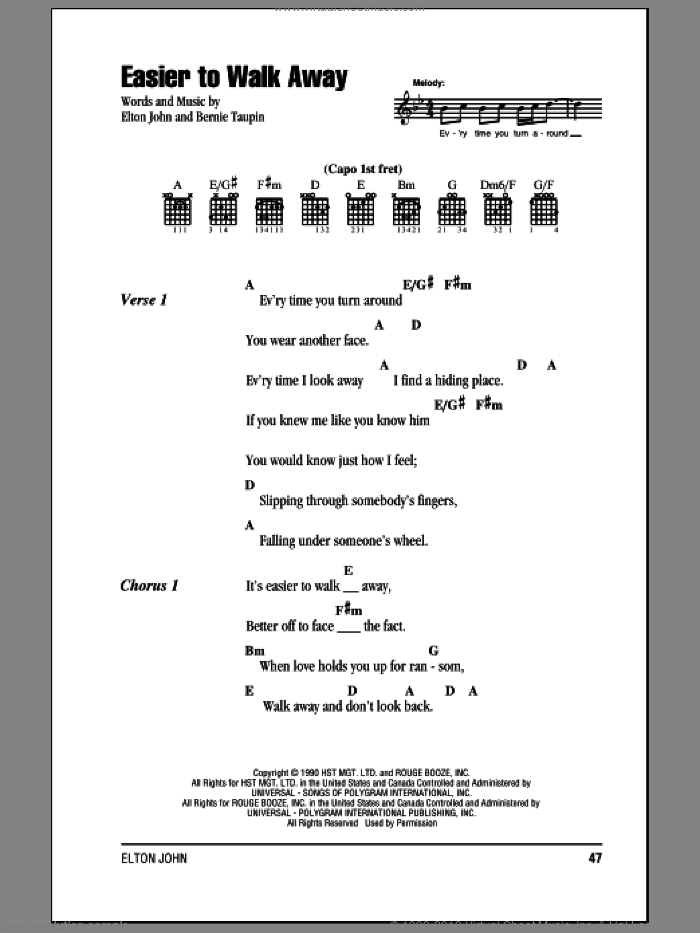 Easier To Walk Away sheet music for guitar (chords) by Bernie Taupin and Elton John. Score Image Preview.