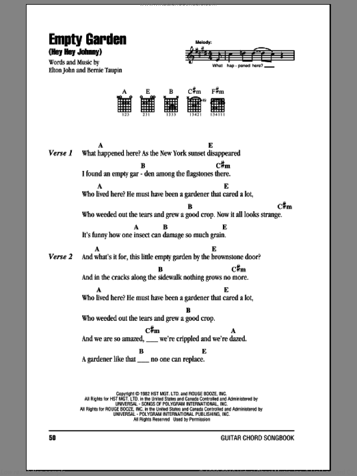 Empty Garden (Hey Hey Johnny) sheet music for guitar (chords) by Elton John and Bernie Taupin. Score Image Preview.