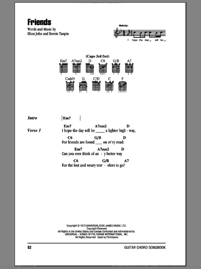 Friends sheet music for guitar (chords) by Elton John and Bernie Taupin, intermediate skill level