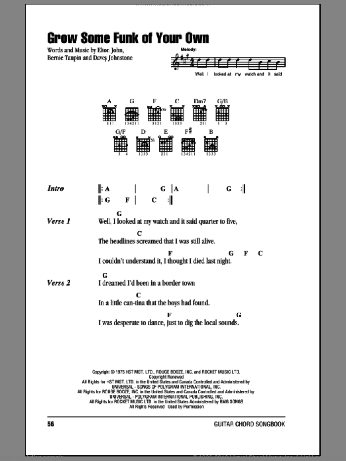 Grow Some Funk Of Your Own sheet music for guitar (chords) by Davey Johnstone, Bernie Taupin and Elton John. Score Image Preview.