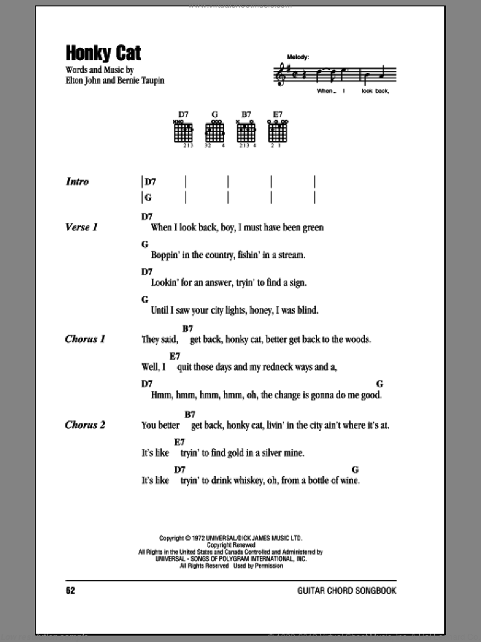 Honky Cat sheet music for guitar (chords) by Bernie Taupin and Elton John. Score Image Preview.
