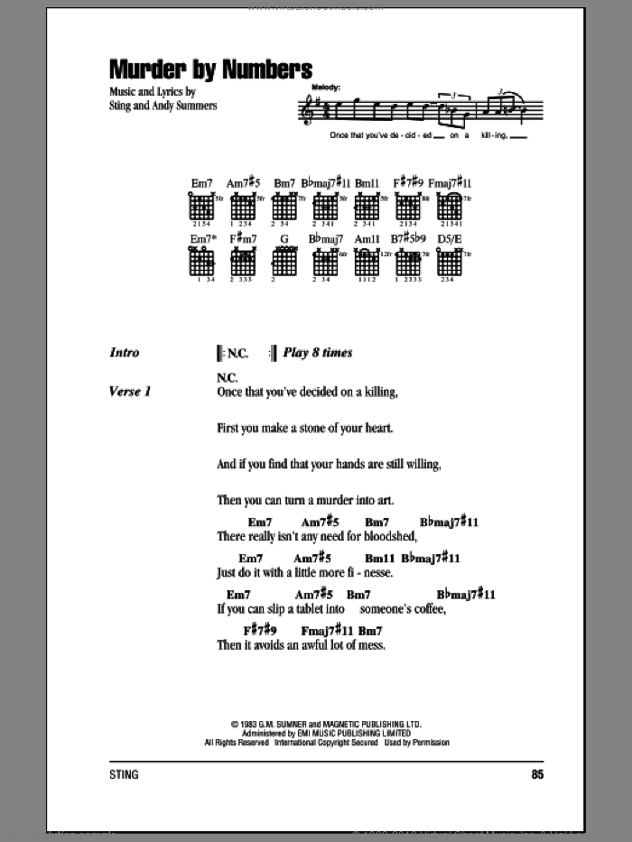 Police Murder By Numbers Sheet Music For Guitar Chords Pdf