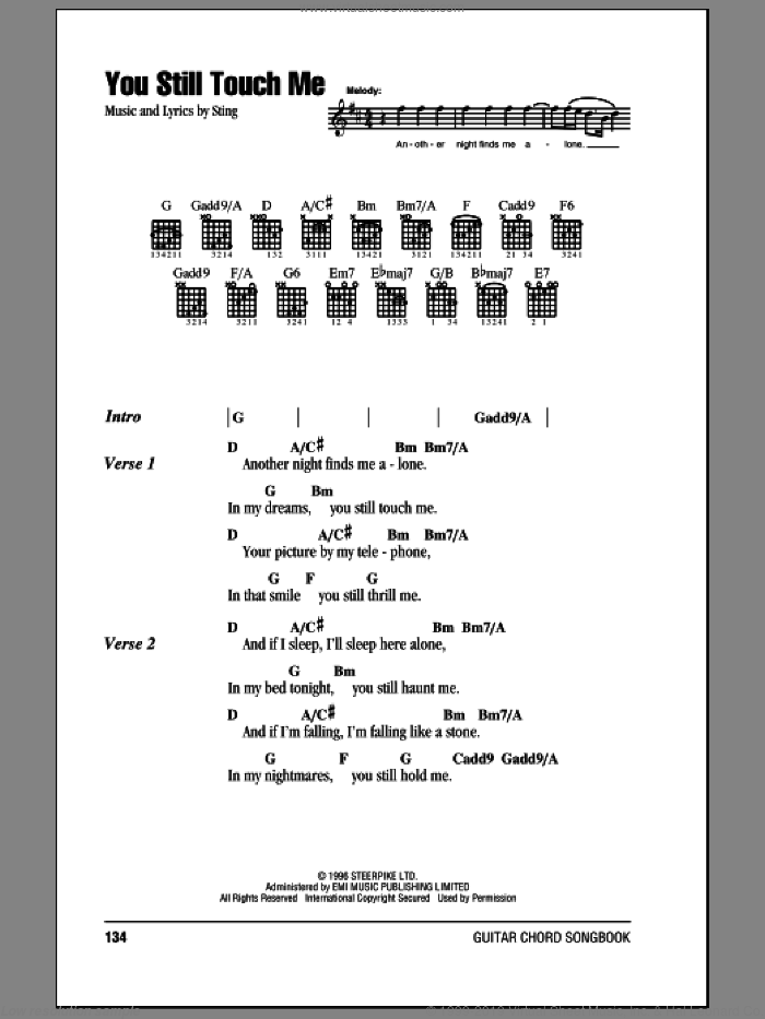 You Still Touch Me sheet music for guitar (chords) by Sting, intermediate guitar (chords). Score Image Preview.