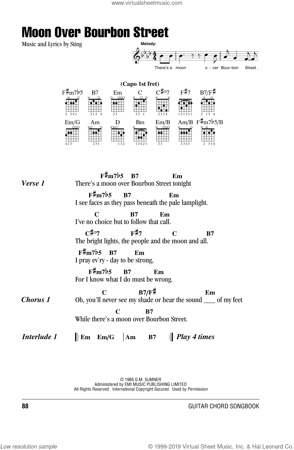 Moon Over Bourbon Street sheet music for guitar (chords) by Sting, intermediate skill level