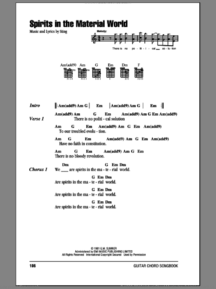 Spirits In The Material World sheet music for guitar (chords) by The Police and Sting. Score Image Preview.