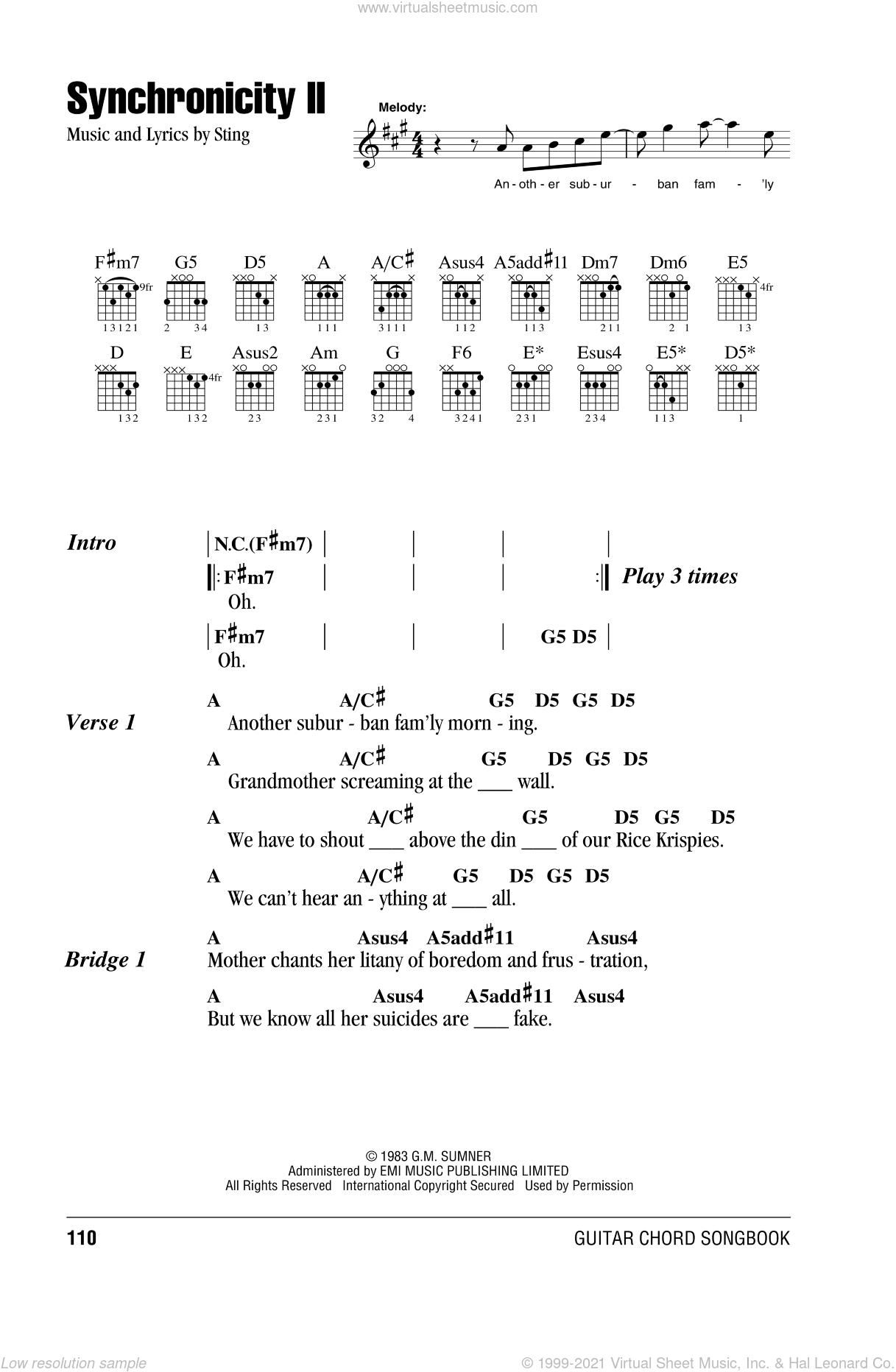 Synchronicity II sheet music for guitar (chords) by The Police and Sting, intermediate skill level