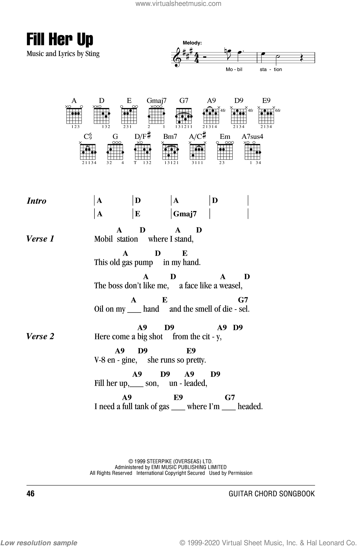 Fill Her Up sheet music for guitar (chords) by Sting. Score Image Preview.