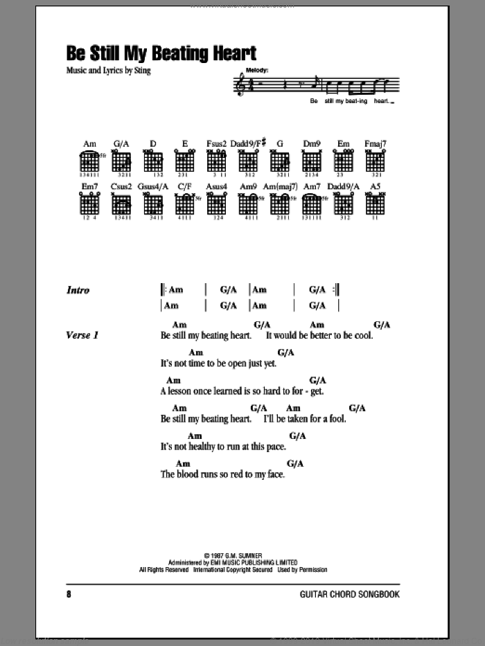 Be Still My Beating Heart sheet music for guitar (chords) by Sting. Score Image Preview.
