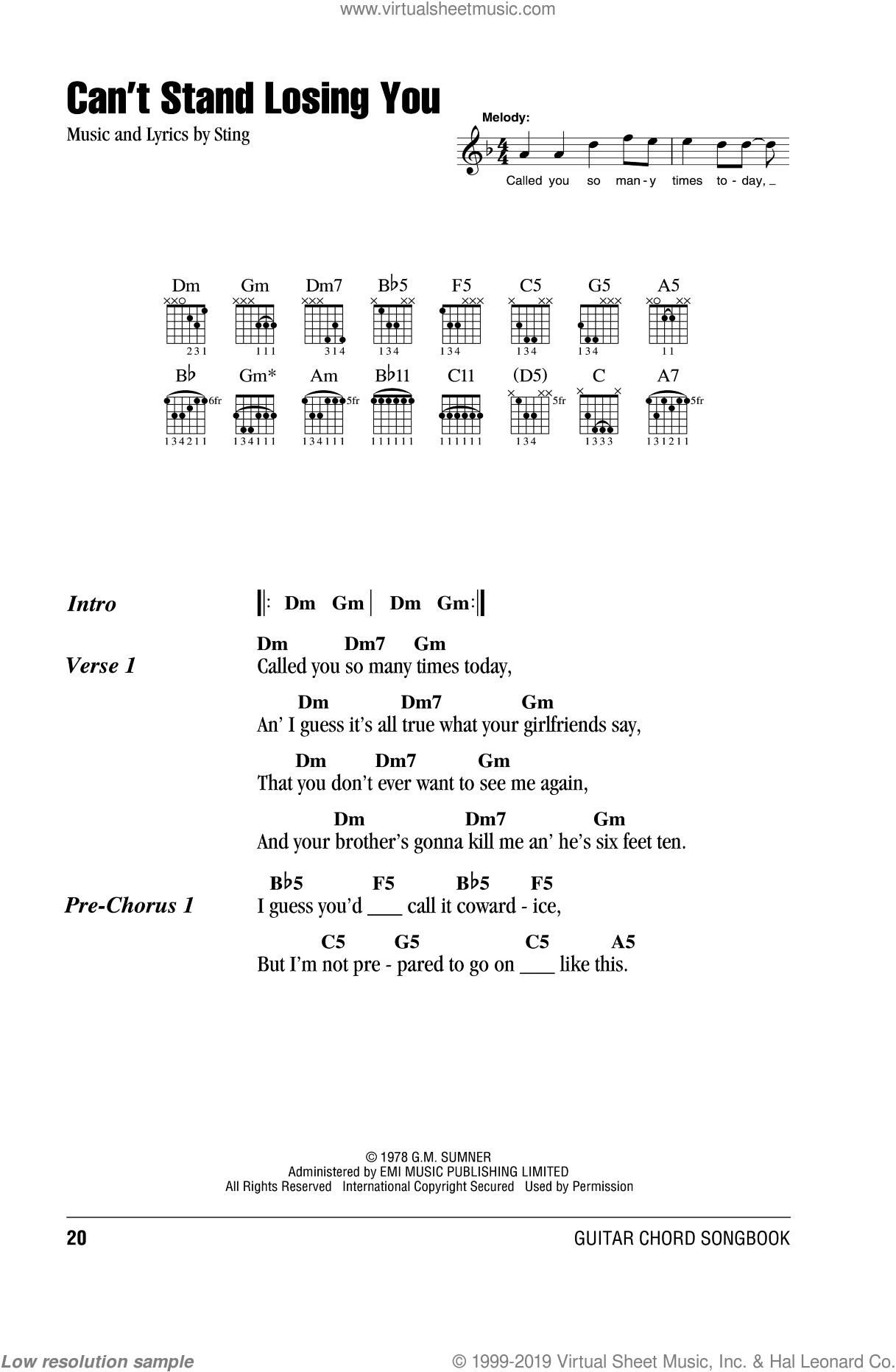 Police - Can\'t Stand Losing You sheet music for guitar (chords)