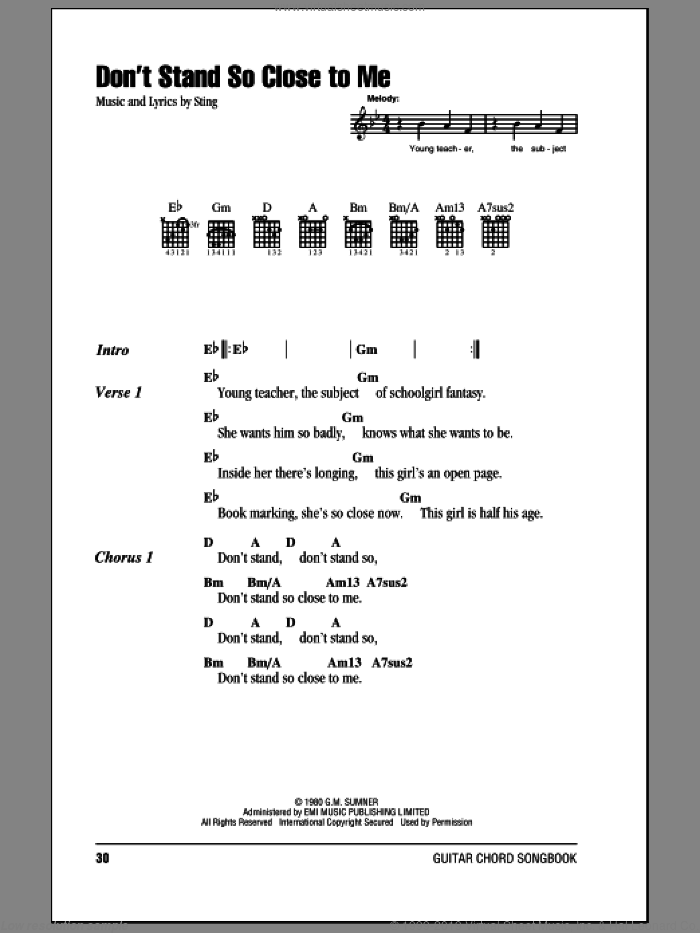 Don't Stand So Close To Me sheet music for guitar (chords) by The Police and Sting. Score Image Preview.