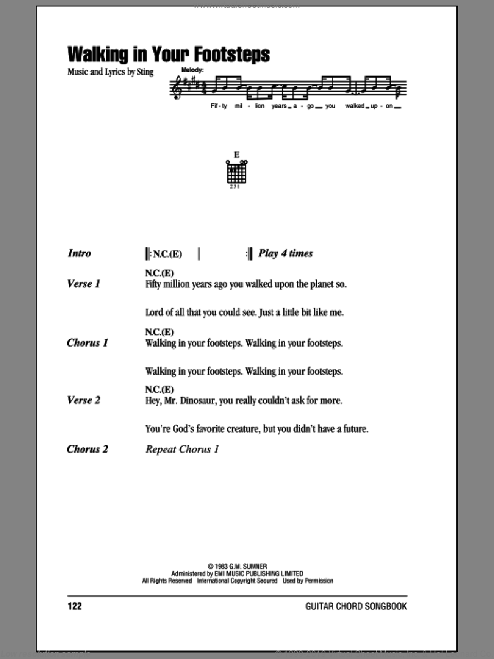 Walking In Your Footsteps sheet music for guitar (chords) by The Police and Sting. Score Image Preview.