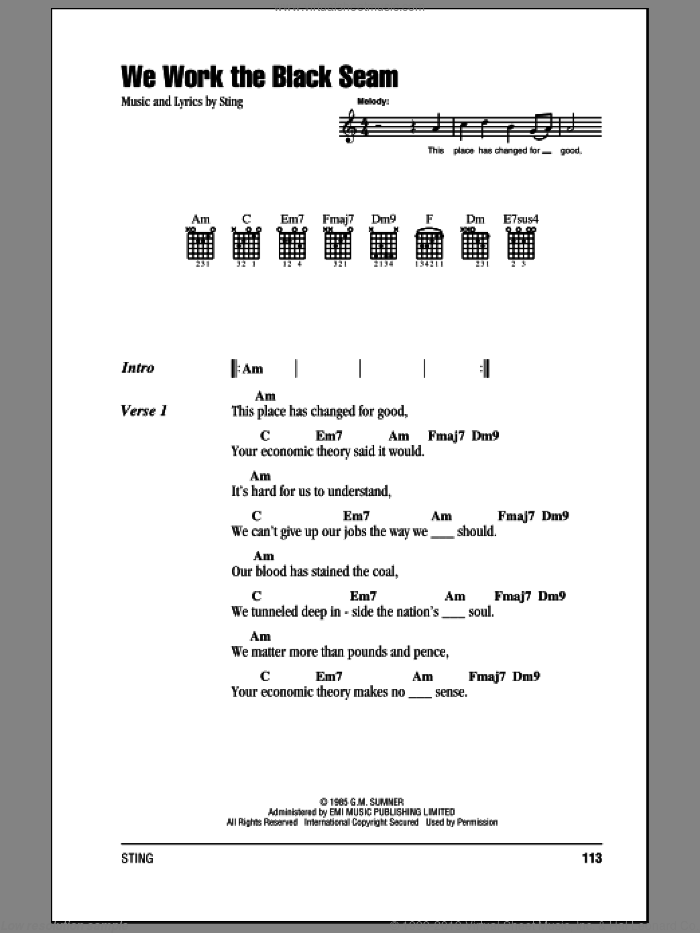 Sting We Work The Black Seam Sheet Music For Guitar Chords