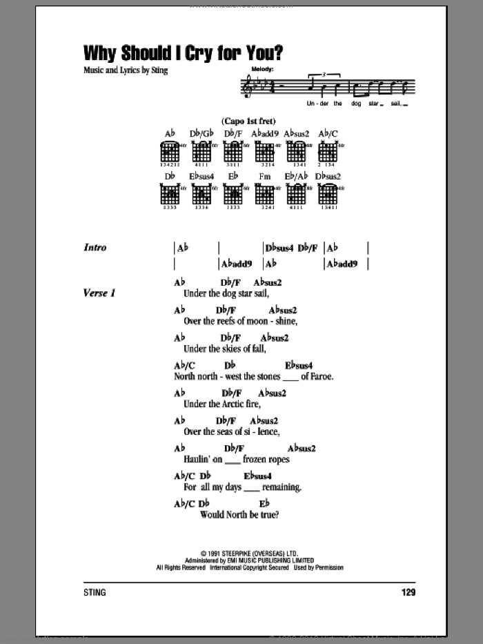 Why Should I Cry For You? sheet music for guitar (chords) by Sting. Score Image Preview.