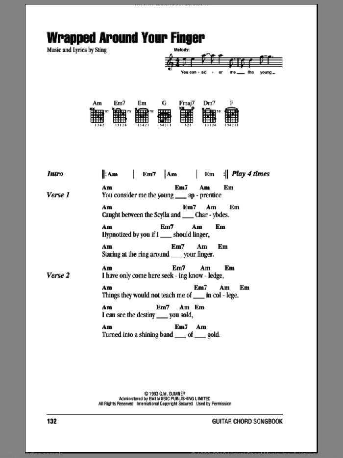Wrapped Around Your Finger sheet music for guitar (chords) by The Police and Sting. Score Image Preview.