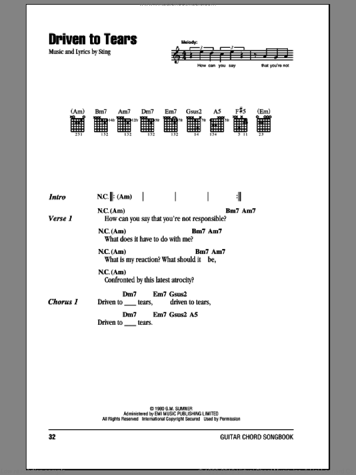 Driven To Tears sheet music for guitar (chords) by The Police and Sting. Score Image Preview.