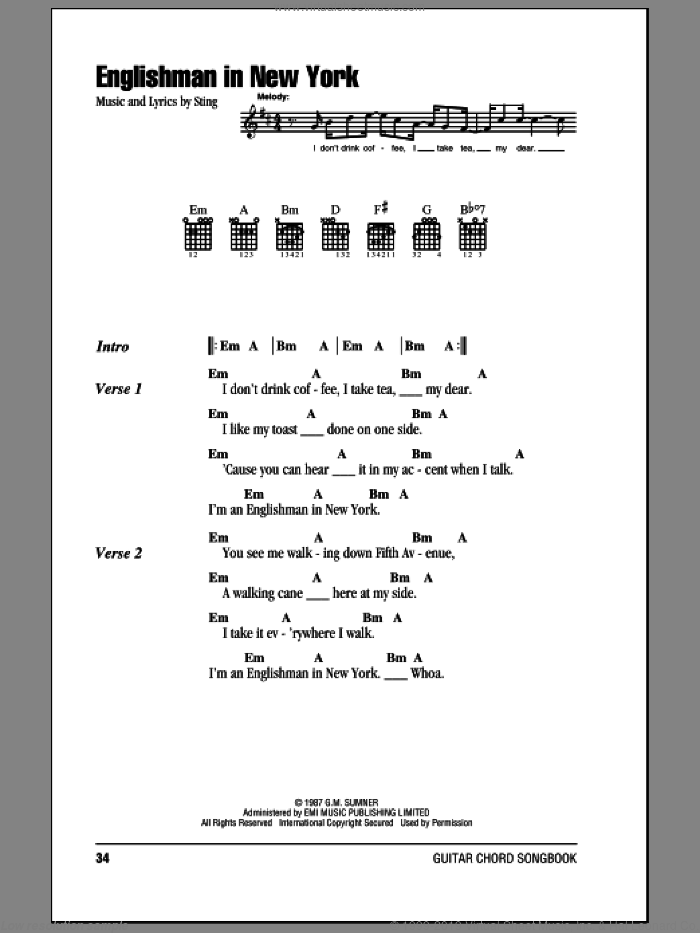 Englishman In New York sheet music for guitar (chords) by Sting