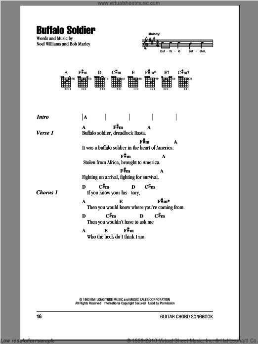 Buffalo Soldier sheet music for guitar (chords) by Noel Williams