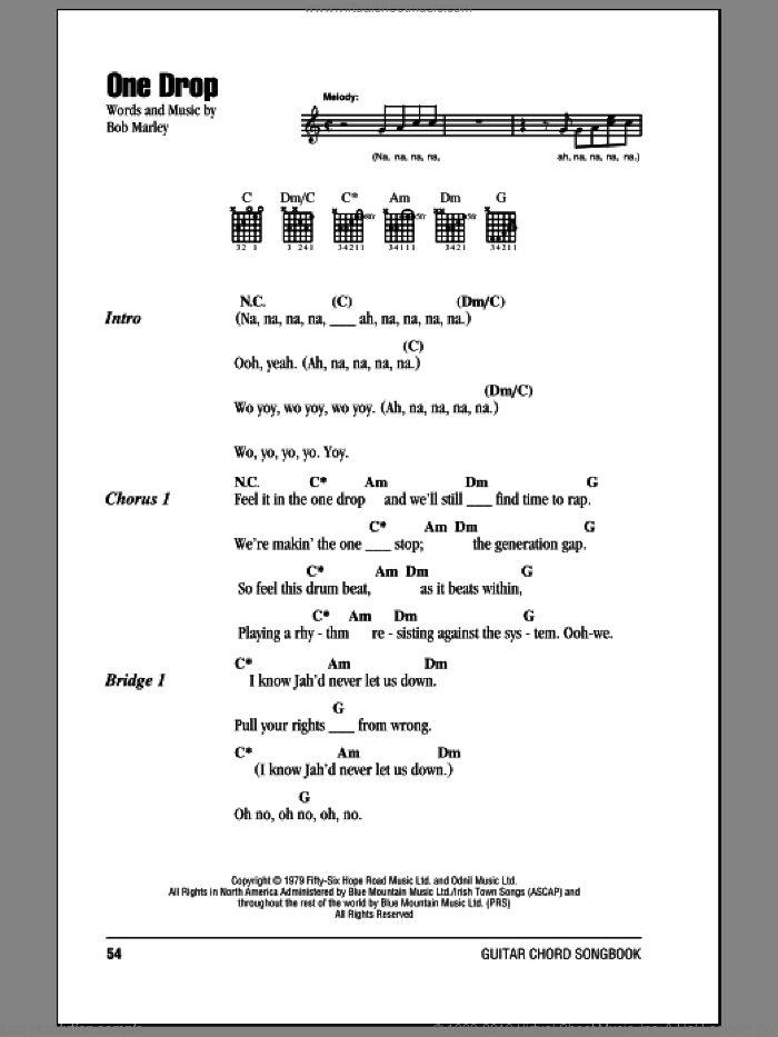 Marley One Drop Sheet Music For Guitar Chords Pdf