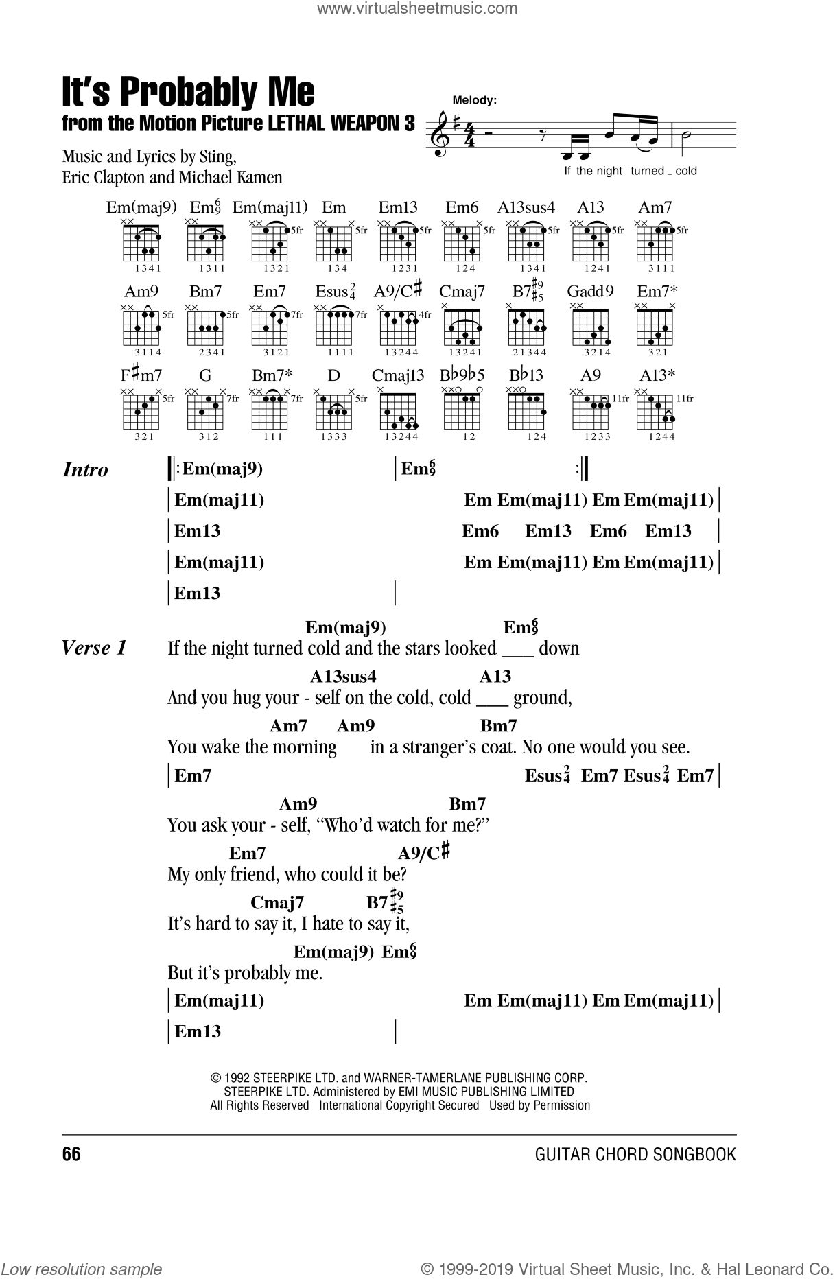Sting Its Probably Me Sheet Music For Guitar Chords Pdf
