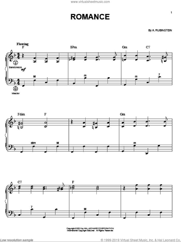 Romance sheet music for accordion by Anton Rubinstein and Gary Meisner, classical score, intermediate skill level
