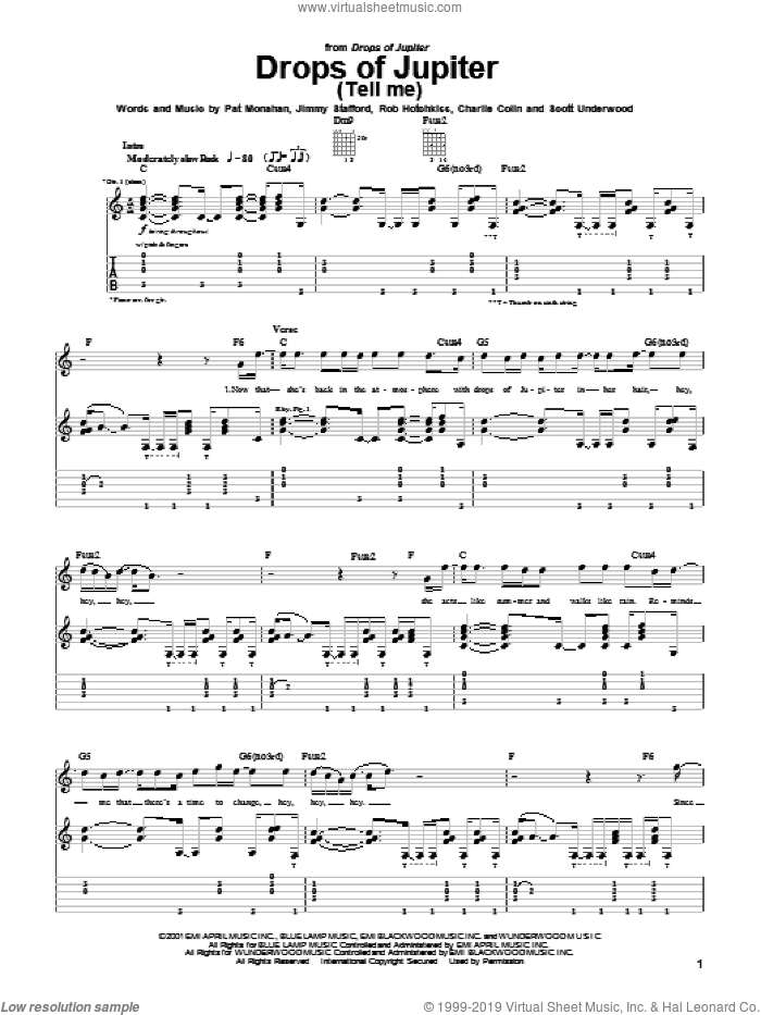 Drops Of Jupiter (Tell Me) sheet music for guitar (tablature) by Rob Hotchkiss, Train and Pat Monahan. Score Image Preview.