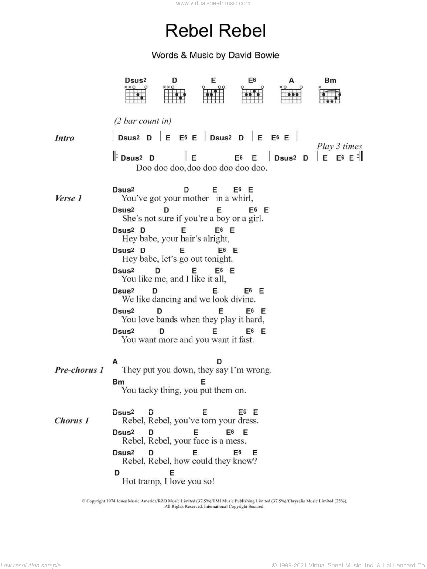 Rebel Rebel sheet music for guitar (chords) by David Bowie. Score Image Preview.